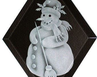 Carved Glass Snowman Hanging Suncatcher