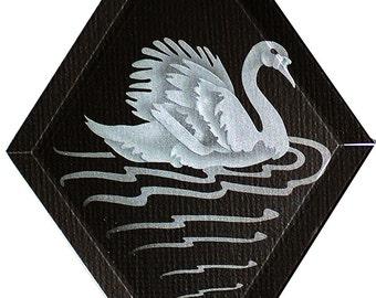 Carved Glass Swan Hanging Suncatcher
