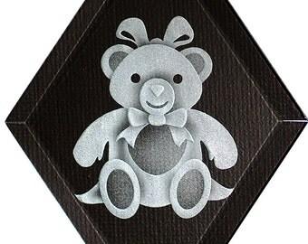 Carved Glass Girl Teddy Bear Hanging Suncatcher