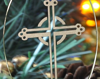 Carved Glass Irish Cross Christmas Holiday Ornament