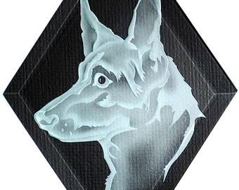 Carved Glass German Shepherd Dog II Hanging Suncatcher