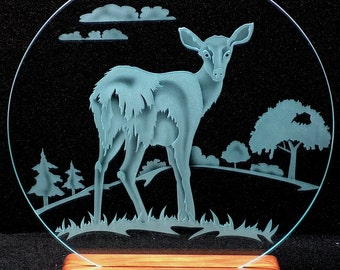 Carved Glass Doe Deer 12 Inch Circle with Base