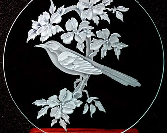 Carved Glass Mocking Bird on 9 inch Circle with Handcrafted Base