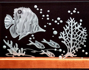 Carved Glass Tropical Fish Reef on Rectangle with Handcrafted Wooden Base