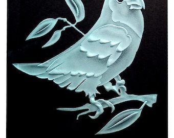 Carved Glass Love Bird II in Handcrafted Wooden Base