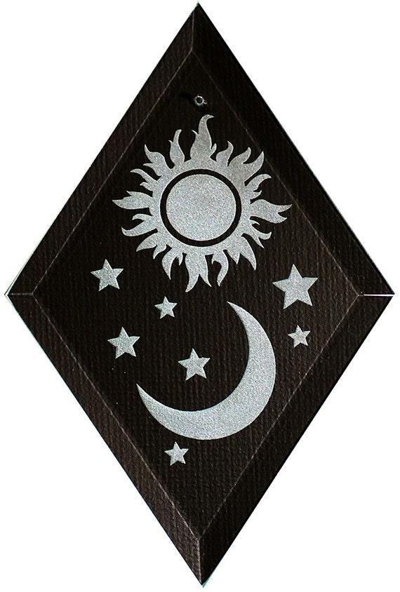 Carved Glass Sun and Moon II Hanging Suncatcher