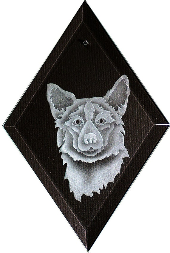 Carved Glass Welsh Corgie Dog Hanging Suncatcher