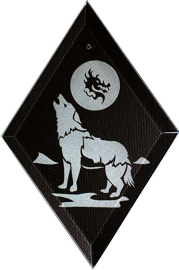Carved Glass Howling Wolf with Dragon in Moon Hanging Suncatcher