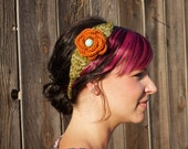 Tangerine & Turquoise Crocheted Floral Boho Headband (flex fit for girls and women) Available in over 30 colors