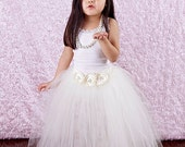 Long length Ivory tutu size 5/6 with handmade ivory flowers with pearl center