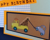 Boy's Birthday Card Tow Truck Boy's Birthday - Ready to Ship