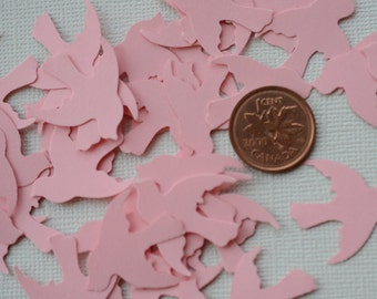 Paper Dove Die Cuts, Pink Bird Dies Cut, Wedding Confetti, 100 Count