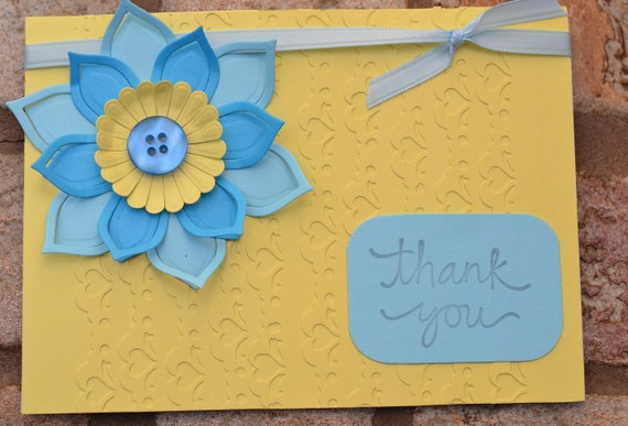 Flower Thank You Card Yellow Blue- Ready to Ship