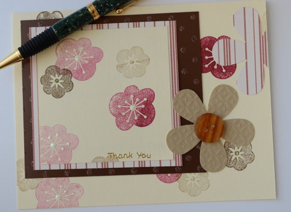 Thank You Card Brown Tan Burgundy Flowers Stamped Ready to Ship