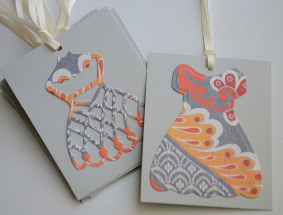 Gift Tags Dressform Tags Set of 9 Die Cut Labels Bridal Shower Tags