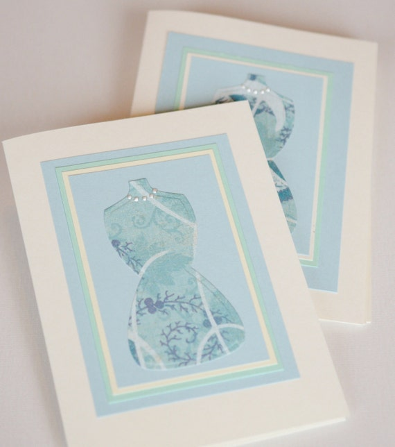 Greeting Card Set Four Cards Feminine Dress Blue Cream Green