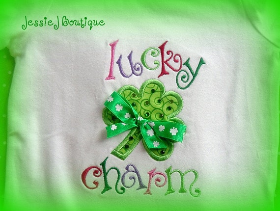 Lucky Charm St. Patrick's Day Boutique Shirt with Crystals
