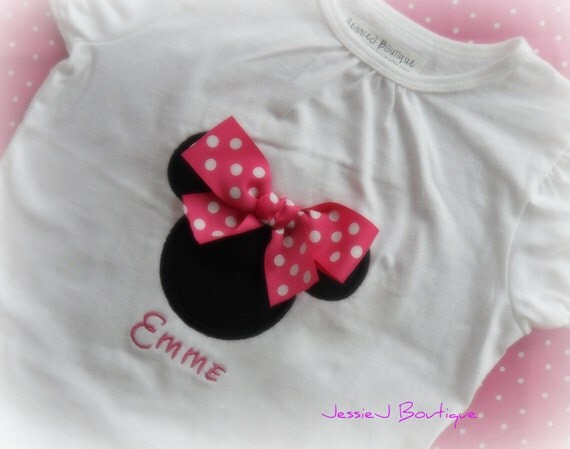 Personalized Minnie Mouse Shirt with Pink Polka Dot Ribbon