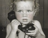 The Phone Call, humorous and sweet vintage photo digital download