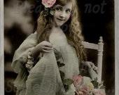 Gathering roses, Beautiful Edwardian Child  DIGITAL photo