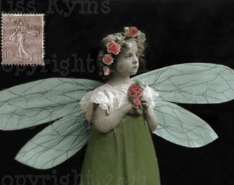 Christmas Angel, Vintage Photo postcard, digital downlad