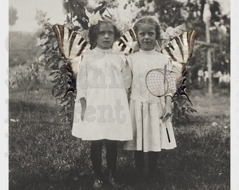 Caught a Friend, Altered fairy photo, Vintage Photo postcard, digital downlad
