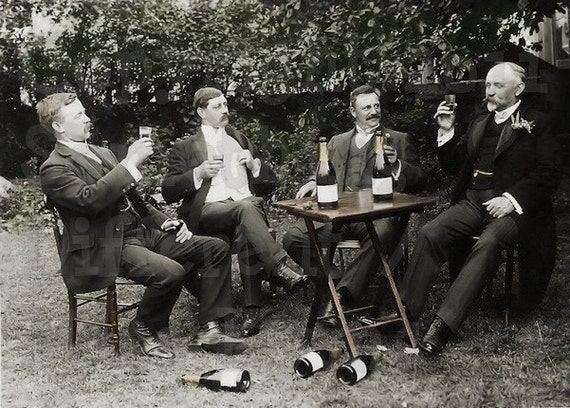 Old Fashioned Vintage Photograph , photo,Men drinking a toast, Digital Download,