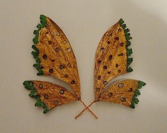 "Fairy Wings-Iridescent-Copper Fae Wings for Dolls & Bears  5"" x 3""  Reserved as a gift for Debra"