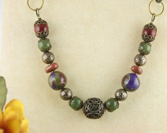 Necklace Red, Purple, Greens, Golds