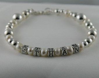 NAME CUSTOM Bracelet Personalized Keepsake for Little Girls and Mom Pearls and Sterling Silver