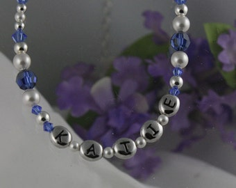 CUSTOM Personalized Necklace for Little Girls  Pearl and Sterling Silver Birthstone