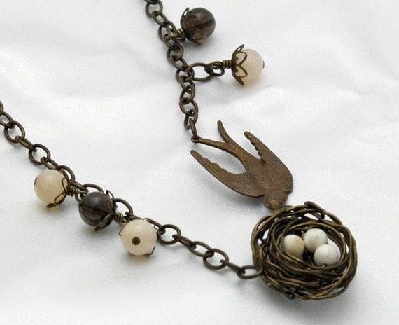 necklace metal vinetaj brass for nature lovers