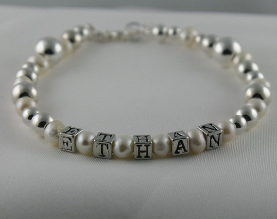 Birthstone Sterling Silver and Gold  Personalized Keepsake Bracelet for Little Girls and Moms