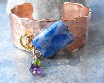 Hammered Copper Cuff, Blue Agate Copper Cuff Bracelet, Copper Statement Cuff, Artisan Jewelry