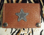 Orange metal flake star wallet