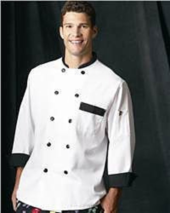 A CHEF COAT personalized with his name embroidered over the pocket.