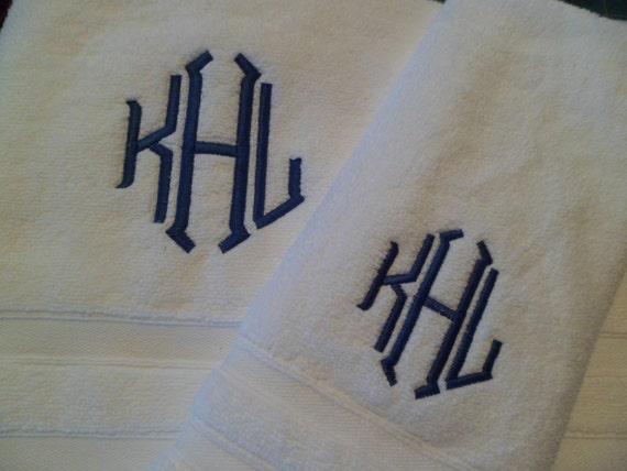 Soft Monogrammed Towels 2 Bath 2 Hand Towels Monogrammed