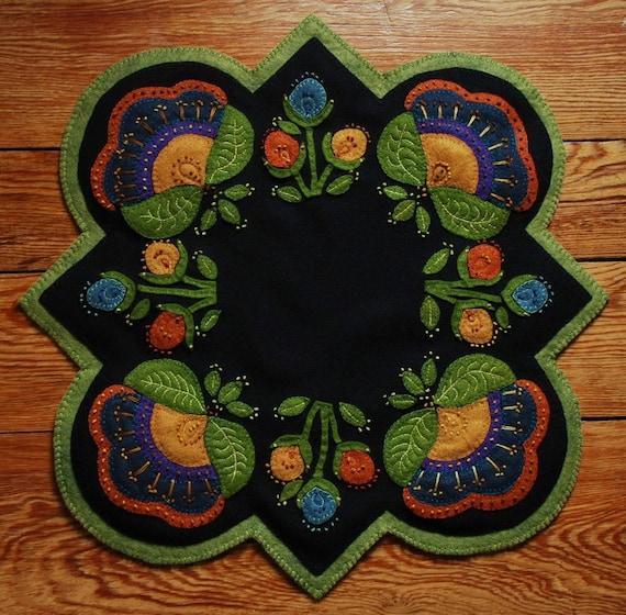 Primitive Jacobean Wool Applique Penny Rug Candle Mat