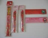 Vintage Sanrio ,Hello Kitty  mechanical pencils , Hello Kitty rulers(combs) & Pencils,1976,1991,1992