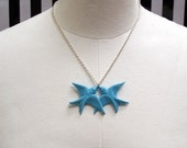 kissing sparrows necklace in light blue