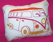 DIY embroidered love bus pillow