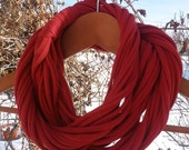 """Infinity Scarf - Red Color - with red band, Approx. 28"""" - 14 strands"""