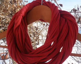 "Infinity Scarf - Red Color - with red band, Approx. 28"" - 14 strands"