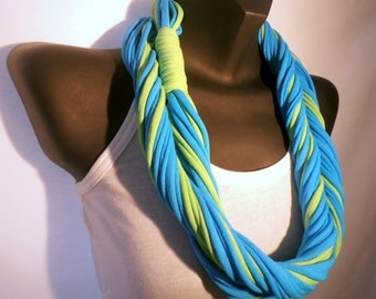 Infinity Scarf - Beach Blue and Lime Green Color