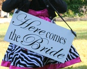 Wedding Signs, Photo Prop Here Comes The Bride/Happily Ever After   white  Double Sided Wooden Board Great for Weddings