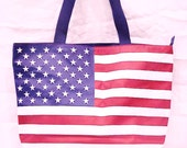 Coupon Sale Now through July 4th - American Flag Beach Tote, Shopping Bag, City Bag, Travel Tote, Vacation, Cruise