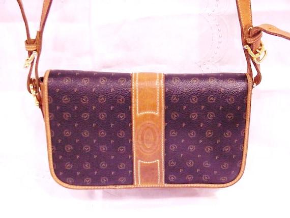 COUPON SALE - Vintage POLLINI Italy Monogram Leather Messenger Bag Shoulder Bag Purse