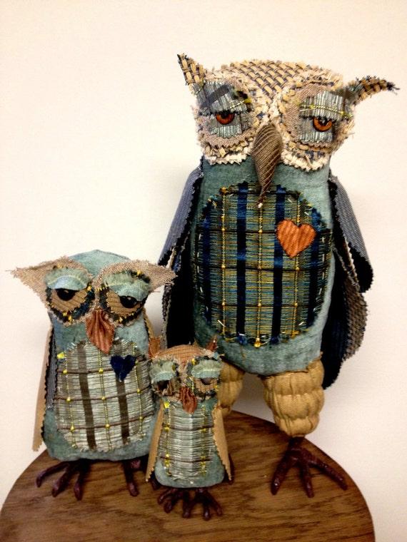 Victor the OWL and His Kids. OOAK Fabric Textile Primitive Folk Art Bird Dolls Set