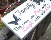 Live Laugh Love FAMILY SIGN Butterflies Beaded Handmade Fun Handpainted Wood Wooden WHAGN