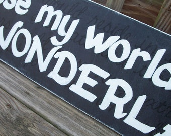 Wonderland SIGN Original Subway SIgn Black White Distressed primitive Rules Handmade 10x48 Hand-painted Wooden WHAGN